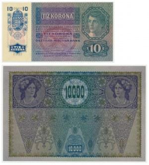 Austria, 10 and 10.000 kronen (1915-1919) (2pcs.) - with overprint