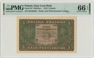 5 marek 1919 - II Serja B - PMG 66 EPQ - rzadka w tym stanie