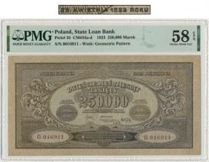 250.000 marek 1923 - B - PMG 58 EPQ - z błędem
