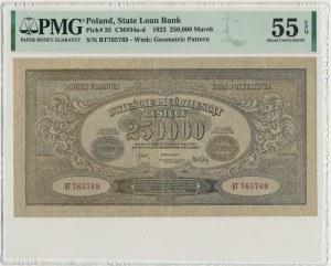 250.000 marek 1923 - BT - PMG 55 EPQ - numeracja wąska