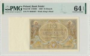 10 złotych 1929 - Ser.FV - PMG 64 EPQ