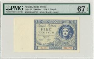5 złotych 1930 - Ser.BX. - PMG 67 EPQ