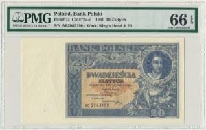 20 złotych 1931 - AB - PMG 66 EPQ - rzadka