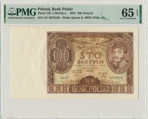 100 złotych 1934 - Ser.AV - znw. +X+ PMG 65 EPQ