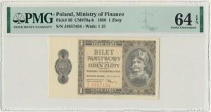 1 złoty 1938 - J - PMG 64 EPQ - RZADKA