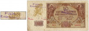 10 złotych 1940 - L - Falsch Emissionsbank Kl.II - RZADKA
