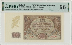10 złotych 1940 - N - PMG 66 EPQ - London Counterfeit