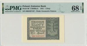 1 złoty 1941 - BB - PMG 68 EPQ - OKAZOWA SZTUKA