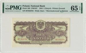 5 złotych 1944 ...owym - BT - PMG 65 EPQ