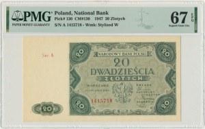 20 złotych 1947 - A - PMG 67 EPQ