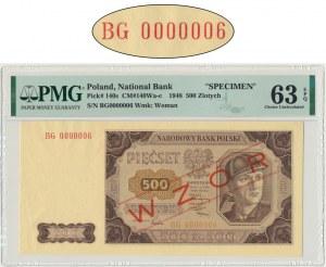 500 złotych 1948 - BG 0000006 - PMG 63 EPQ - WZÓR JAROSZEWICZA