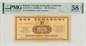 Pewex, 20 dolarów 1969 - FH - PMG 58 EPQ