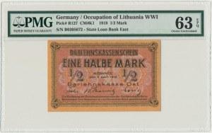 Kowno, 1/2 marki 1918 - B - PMG 63 EPQ