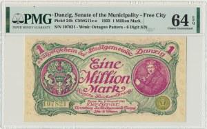 Gdańsk, 1 milion marek 08 Sierpnia 1923 - num. 6 cyfrowa z ❊ nieobróconą - PMG 64 EPQ