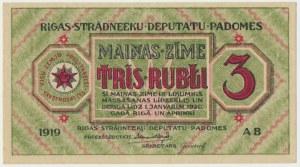 Latvia, 3 rubles 1919