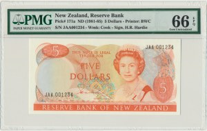 New Zealand, 5 dollars (1981-85) - PMG 66 EPQ - sign. Hardie