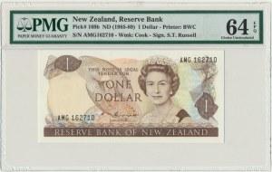 New Zealand, 1 dollar (1985-89) - PMG 64 EPQ - sign. Russel
