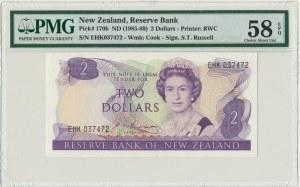 New Zealand, 2 dollars (1985-89) - PMG 58 EPQ - sign. Russel