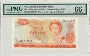 New Zealand, 5 dollars (1985-89) - PMG 66 EPQ - sign. Russel