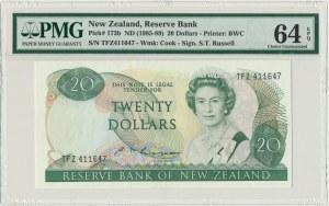 Nowa Zelandia, 20 dolarów (1985-89) - PMG 64 EPQ - podpis Russel