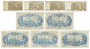 Belgia, zestaw 100 - 500 franków 1938 - 55 (9 szt.)