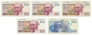Belgia, zestaw 100 - 500 franków 1982 (5 szt.)