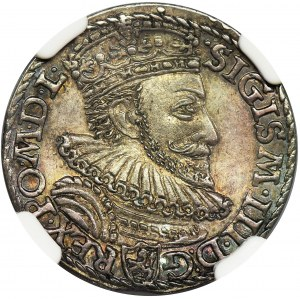 Zygmunt III Waza, Trojak Malbork 1592 - NGC MS63