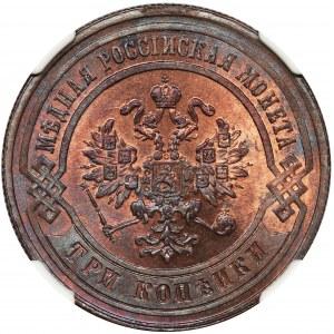 Rosja, Aleksander III, 3 Kopiejki Petersburg 1881 СПБ - NGC MS64 RB
