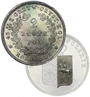 Powstanie Listopadowe, 2 złote Warszawa 1831 KG - PCGS MS65 - NIENOTOWANA