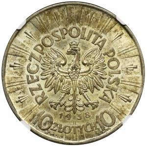 Piłsudski, 10 złotych 1938 - NGC MS63