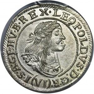 Hungary, Leopold I, 6 Kreuzer Kremnitz 1669 KB - PCGS MS63