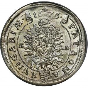 Węgry, Leopold I, 15 Krajcarów Kremnica 1676 KB - PCGS MS63