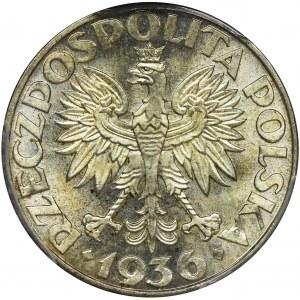 Żaglowiec, 2 złote 1936 - NGC MS64 - PIĘKNA