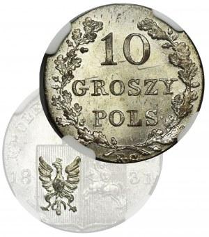 Powstanie Listopadowe, 10 groszy Warszawa 1831 KG - NGC MS64 - łapy orła zgięte