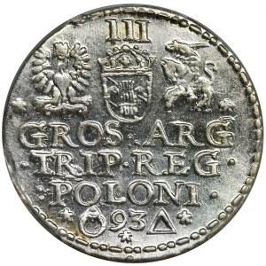 Zygmunt III Waza, Trojak Malbork 1593 - PCGS MS62