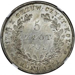 Powstanie Listopadowe, 5 złotych Warszawa 1831 KG - NGC MS63