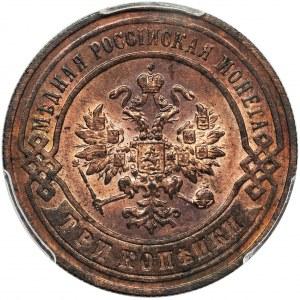 Rosja, Mikołaj II, 3 Kopiejki Birmingham 1896 СПБ - PCGS MS64 RB