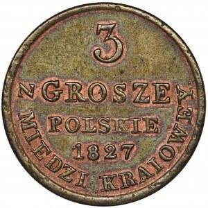 Królestwo Polskie, 3 grosze polskie z MIEDZI KRAIOWEY 1827 IB