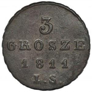 Duchy of Warsaw, 3 Groschen Warsaw 1811 IS