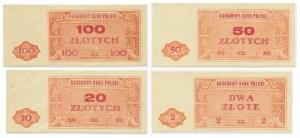 Zestaw niewyemitowanych banknotów, 2 - 100 złotych (1948) (4szt.) - RZADKIE