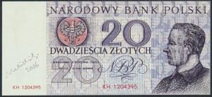 20 złotych 1965 - KH - wydruk z autografem Andrzeja Heidricha