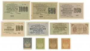 Rosja, zestaw 1 - 5 rubli i 15-1.000 rubli 1919 (11 szt.)