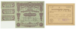 Russia, 4% bond 50 Rubles 1915 with certificate in Polish issued by Ministerstwo Skarbu (2pcs.)