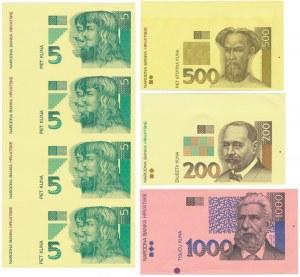 Chorwacja, Zestaw arkuszy i wydruków próbnych (9szt)