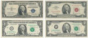 USA, lot $1 and $2 - various stamps (4pcs.)