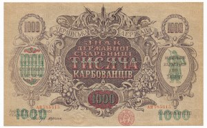 Ukraine, 1.000 karbovanets (1919) - wavy lines