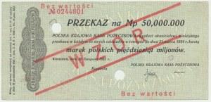 Przekaz, 50 milionów marek 1923 - WZÓR -
