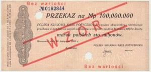 Przekaz, 100 milionów marek 1923 - WZÓR -