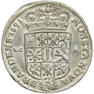 Niemcy, Brandenburgia-Prusy, Fryderyk III, 2/3 Talara (gulden) Berlin 1691 LCS