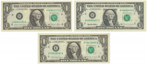 USA, set of 1 dollar 1981-1995 (3 pcs.) - different years